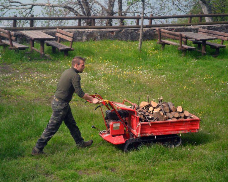 Trasporto legna con la motocarriola