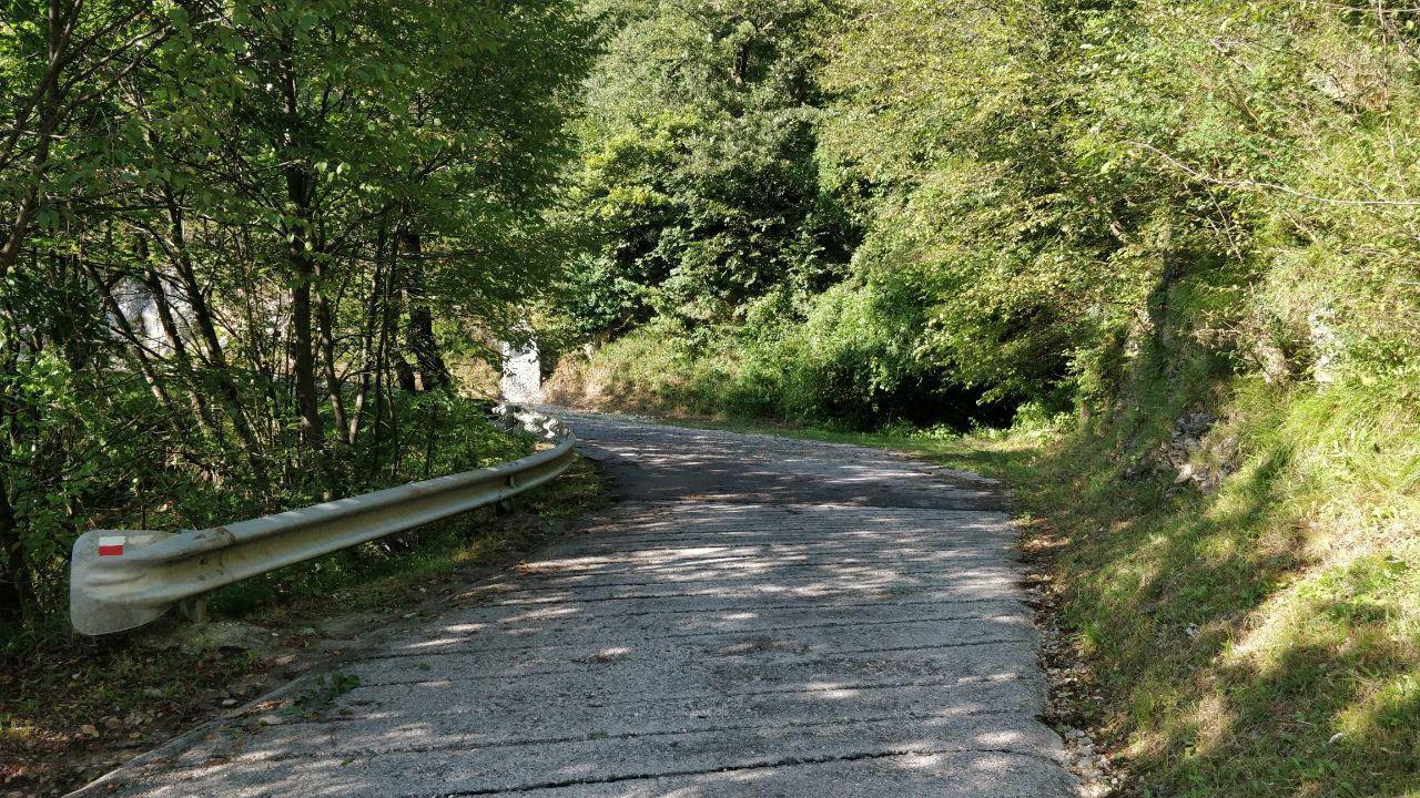 Curva su strada cementata di montagna